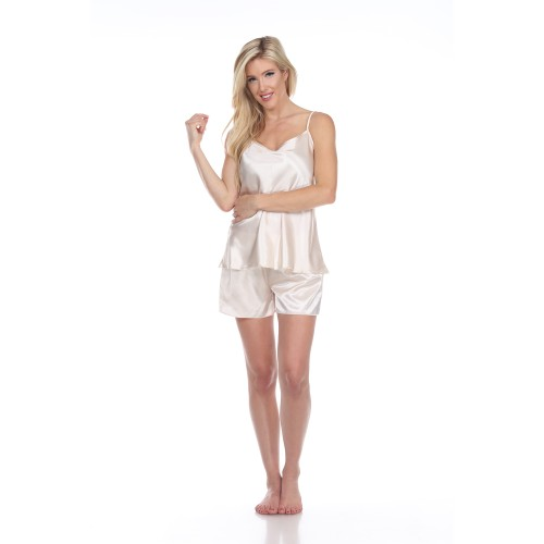 Satin Cami And Shorts Pajama Set - 4 Colors