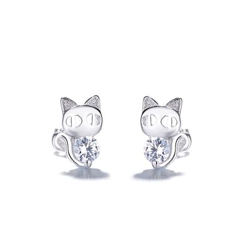 Sterling Silver Crystal Cat Earrings
