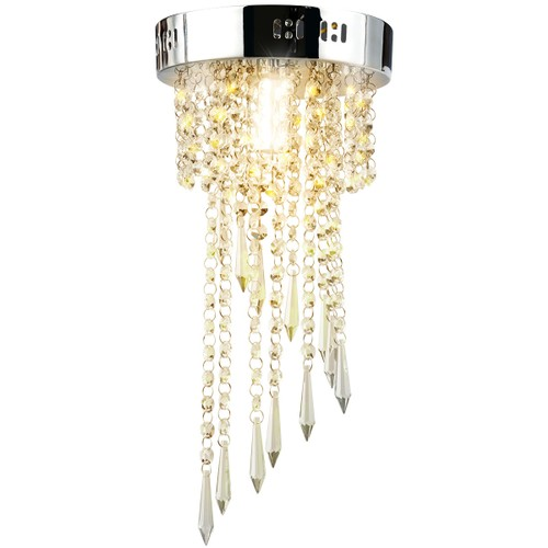 Elegant Pendant Flush Mount Ceiling Light with Stainless Base Crystal Chand