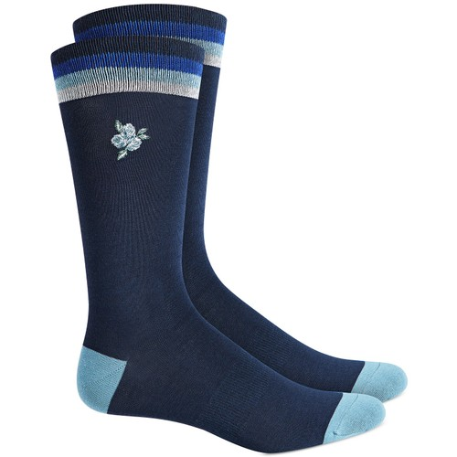 Bar III Men's Embroidered Floral Socks Navy Size Regular