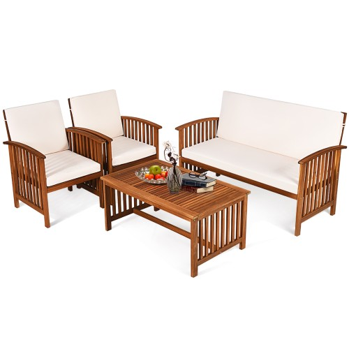 Costway 4PCS Patio Solid Wood Furniture Set Conversation Coffee Table W/Whi