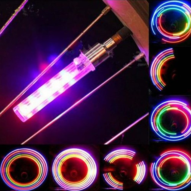 2PC 5 LED Flash Light Bicycle Motorcycle Car Tyre Tire Wheel Valve Lamp