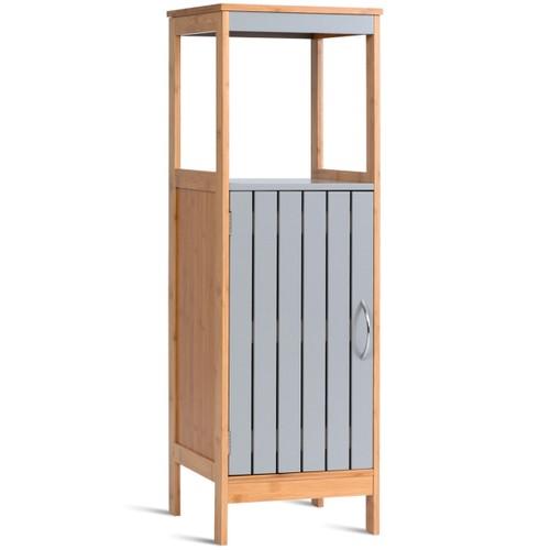 COSTWAY Bathroom Floor Cabinet Freestanding Single Door Bamboo 3-Tier Stora
