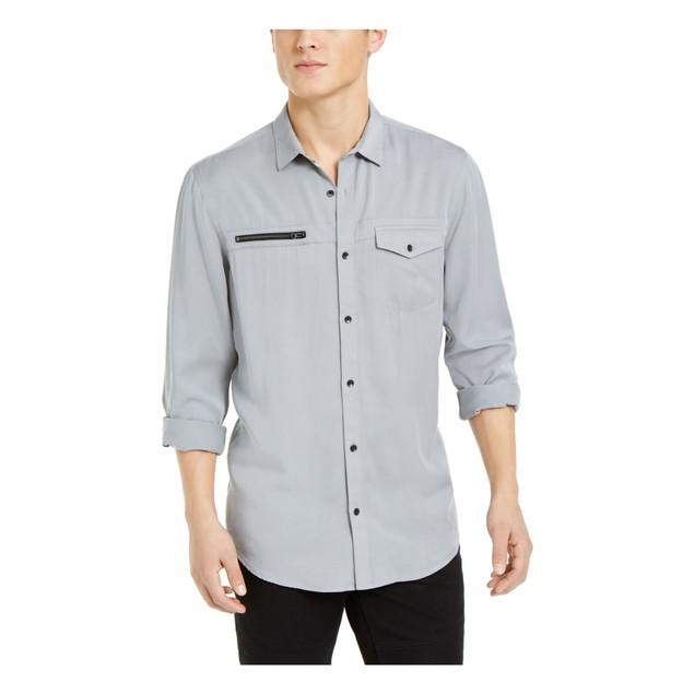 INC International Concepts Men's Lyocell Shirt Grey Size 3XL