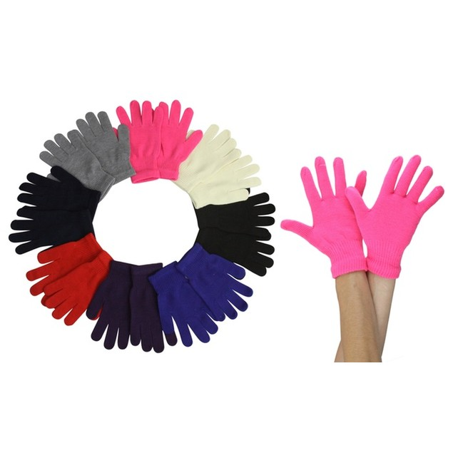 (6 Pack) ToBeInStyle Women's Solid Magic and Plush Warm Gloves