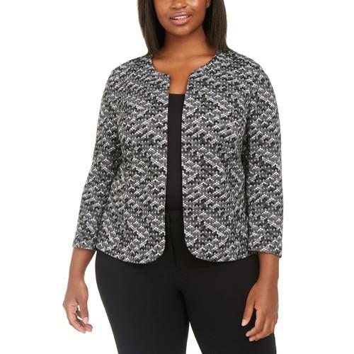 Anne Klein Women's Plus Size Textured Jacket Med Gray Size 1X
