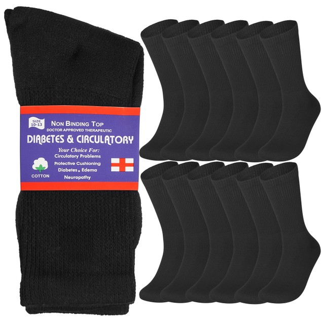 12 Pairs Physicians Approved Diabetic Crew Socks Unisex Black/Grey/White