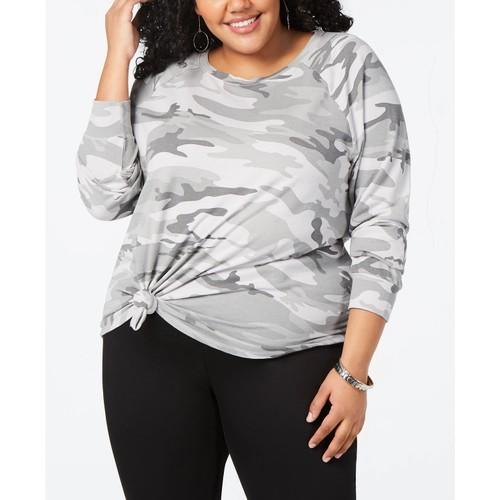 Love Tribe Women's Trendy Camo Print Sweatshirt Grey Size 3X