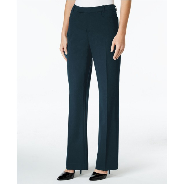Tommy Hilfiger Women's Modern Straight-Leg Modern Dress Pants Blue Size 10