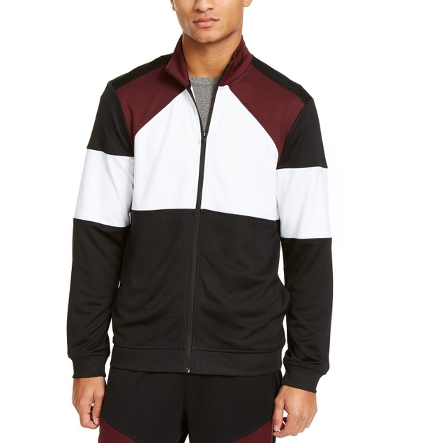 Id Ideology Men's Colorblocked Track Jacket Red Size X-Large
