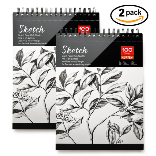 2 PACK SPIRAL SKETCH BOOK 9X12 PAD 100 SHEETS DRAWING PAPER PENCIL PASTE
