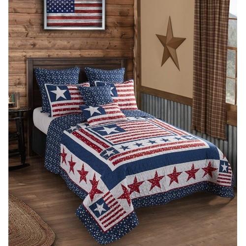 Spura Home 3-Piece Bedspread Indian Polyester Patriotism Quilt Set