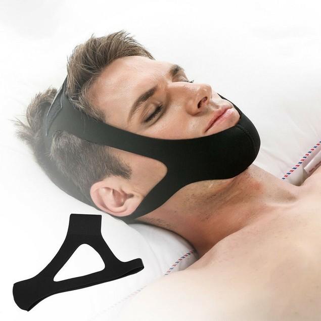Anti Snoring Chin Strap Belt Stop Snoring Jaw Support Sleep Strap Black