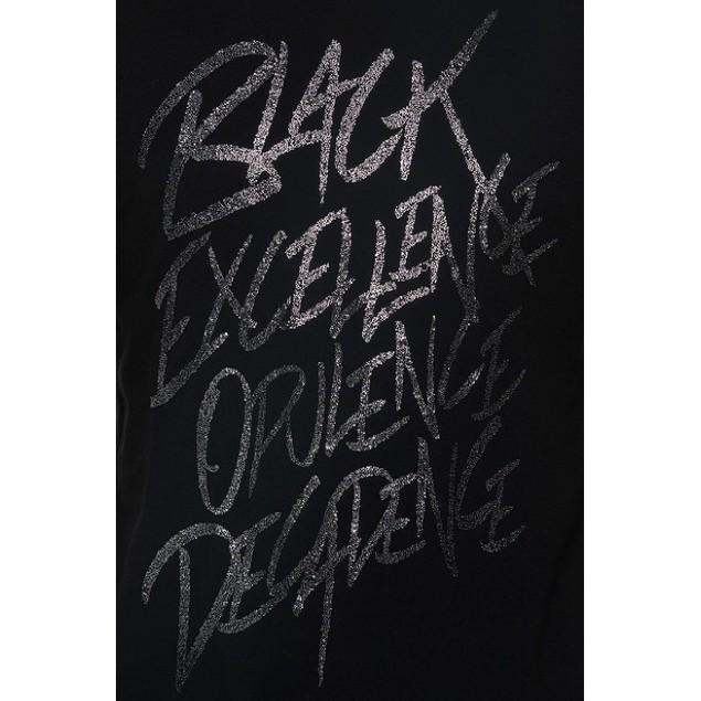 Sean John Men's Black Excellence Glitter T-Shirt Black Size Small