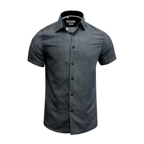 Monza Modern Fit Short Sleeve Black Peacock Dress Shirt