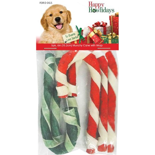 """Pet Factory Happy Howlidays Munchy Christmas Candy Cane with Wrap 5pk 6"""""""