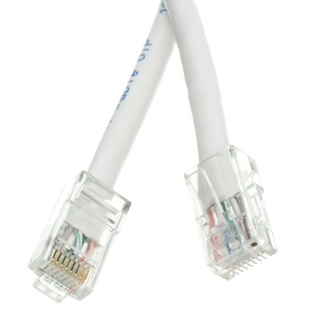Cat5e White Ethernet Patch Cable, Bootless, 2 foot