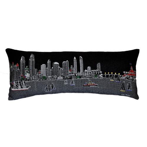 Spura Home San Francisco Skyline Embroidered Wool Cushion Day/Night Setting