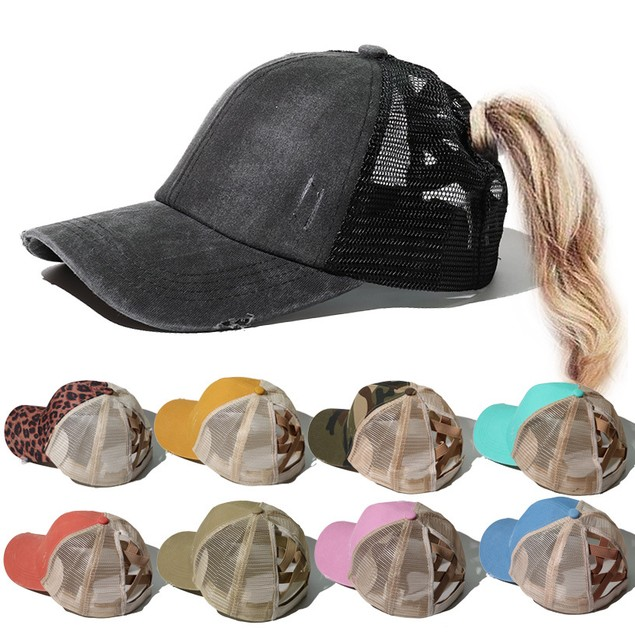 Women's Outdoor Cross Ponytail Baseball Cap