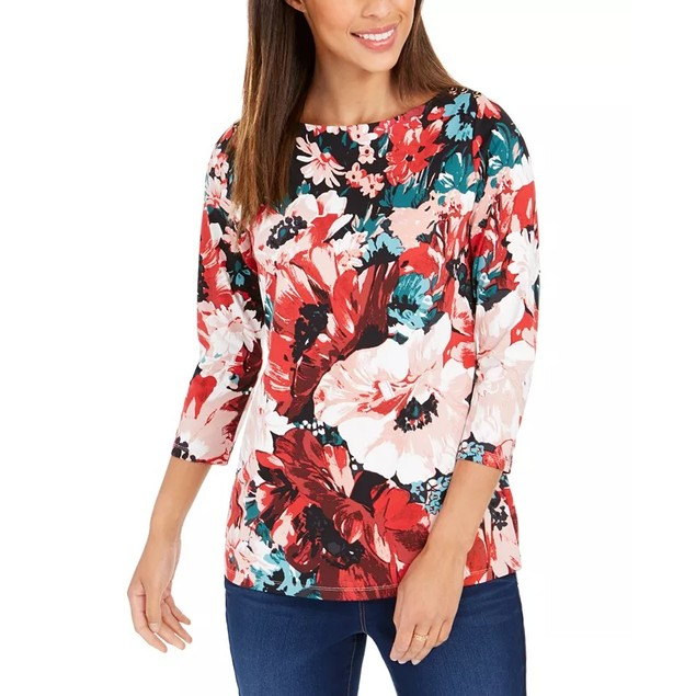 Charter Club Women's Floral Print Boat Neck Top Red Size X-Large