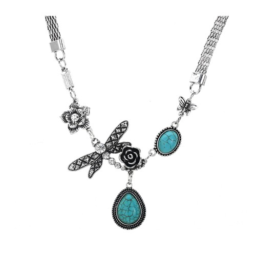 Novadab Gardenia Butterfly Water Drop Turquoise Necklace