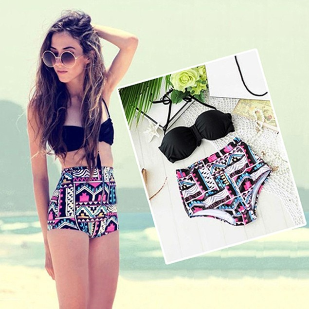Women Retro Sexy High Waist Bikini Set Bandeau Push Up Halter Swimwear