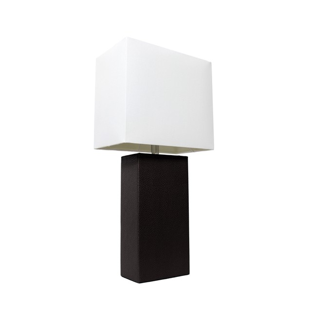 Elegant Designs Modern Leather Table Lamp with White Fabric Shade - Black