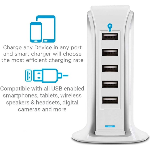 5-Port USB Fast Charging Power Station