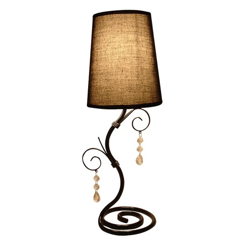 Simple Designs Twisted Vine Table Lamp and Hanging Beads - Brown shade