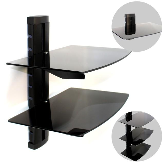 Tempered Black Glass Floating Shelf | MandW 1 Tier