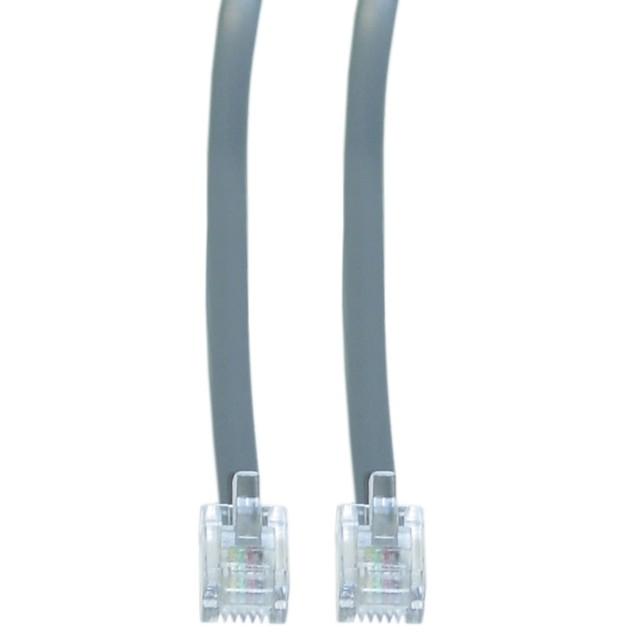Telephone Cord (Data), RJ11, 6P / 4C, Silver Satin, Straight, 2 foot