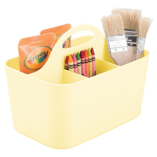 mDesign Plastic Storage Caddy Tote for Sewing & Craft Supplies, Small