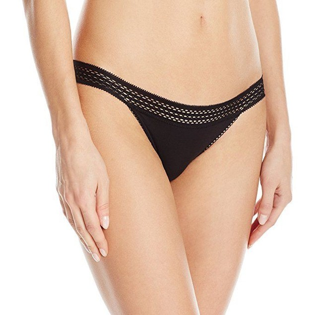 DKNY Women's Classic Cotton Lace Trim Bikini, Black, SZ  X-Large