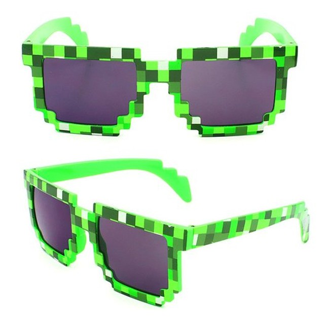 8-Bit Pixelated Green Sunglasses Geek Gamer Square Retro Nerd 90's Adult