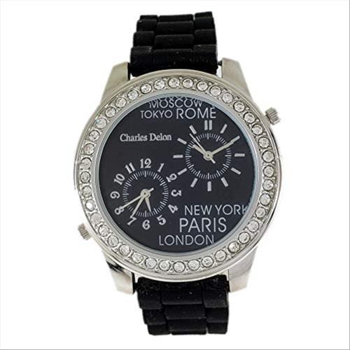 Charles Delon Women's Watches 4050 LPBB Black/Silver Plastic Quartz Round Analog