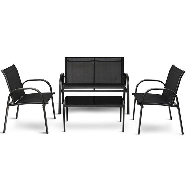 Costway 4 PCS Patio Furniture Set Sofa Coffee Table Steel Frame Garden Deck