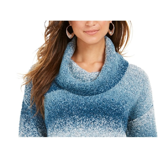 Style & Co Women's Ombre Boucle Sweater Blue Size Medium