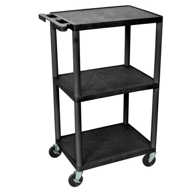 """Luxor 42"""" Three Flat Shelves AV Cart - Black"""