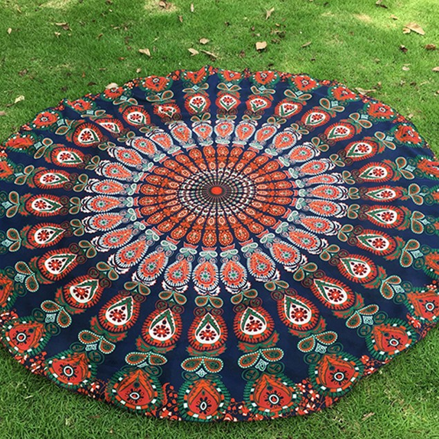 Large Round Chiffon Shawl Peacock Feather Print Gypsy Beach Throw Towel