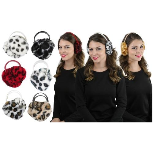 (6 Pack) Women's Fuzzy and Warm Animal Print Earmuffs