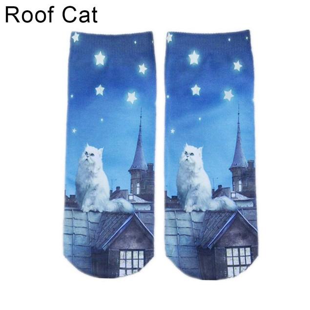 Men Women 3D Print Animal Socks Cat Low Cut Ankle Warm Socks