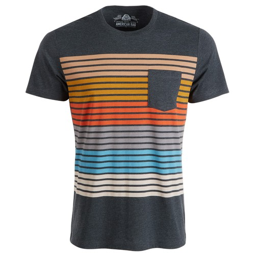 American Rag Men's Colorblocked Striped T-Shirt Charcoal Size Large