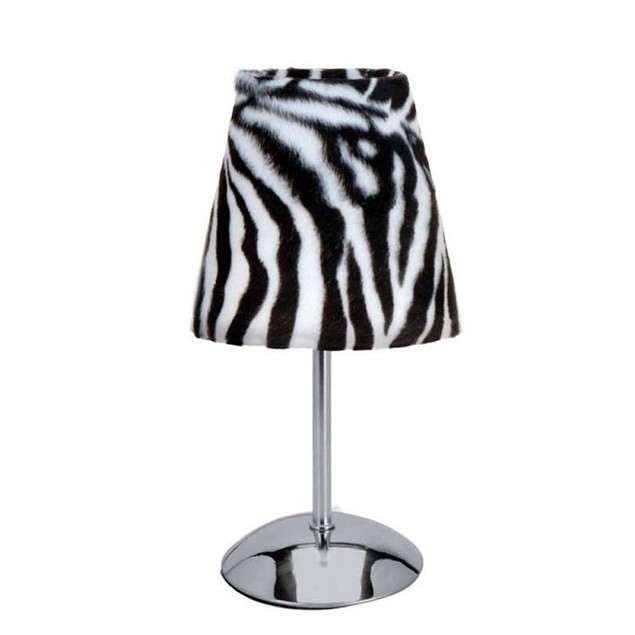 Mini Silver Table Lamp with Faux Fur Zebra Shade