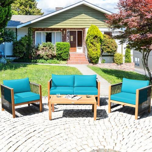 Costway 4PCS Wooden Patio Furniture Set