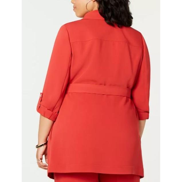 Bar III Women's Plus Belted Shawl Collar Jacket Wine Size 3X