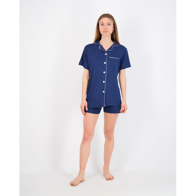 2 Pack: Ladies Short Sleeve Button Down Yummy PJ Set