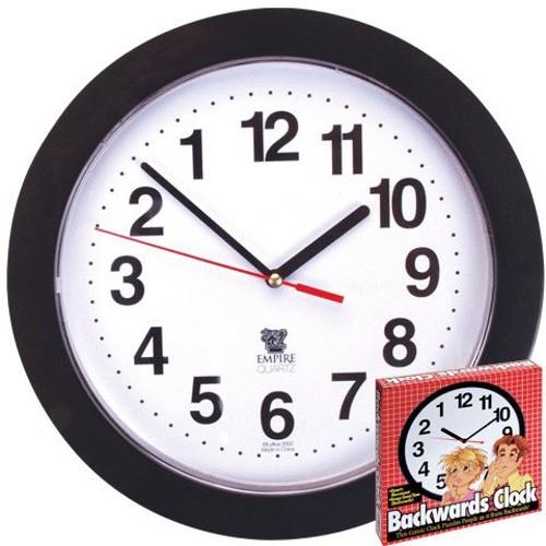 "Backwards Clock 10"" Reverse Counter Clockwise Time Funny Joke Prank"