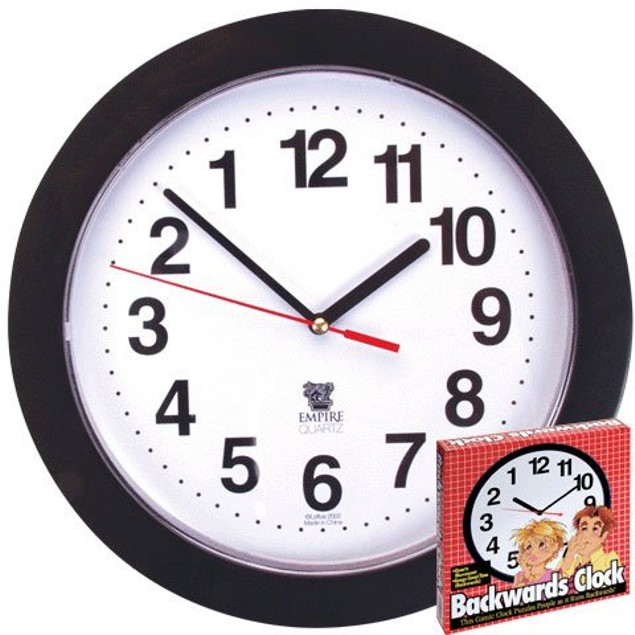 "Backwards Clock 10"" Reverse Counter Clockwise Time Funny Joke Prank"