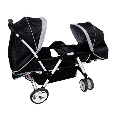 Black Modern Double Stroller With Tray