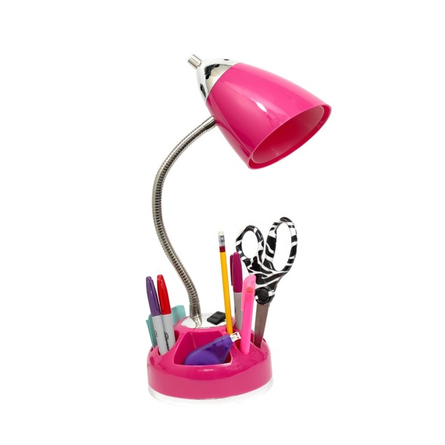 Flossy Organizer Desk Lamp with Charging Outlet Lazy Susan Base - Pink